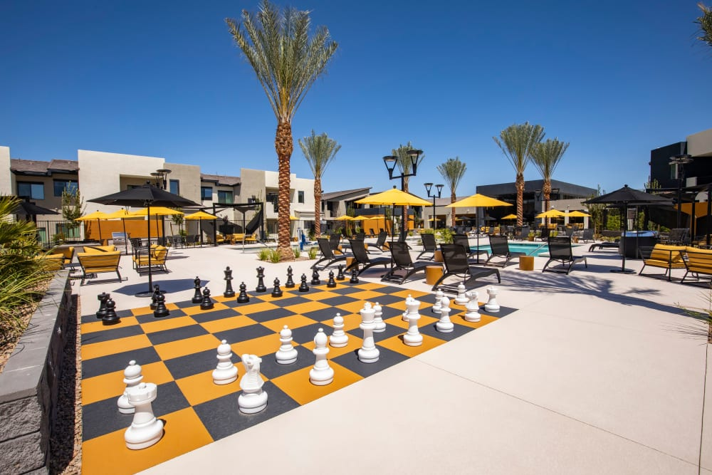 Outdoor Lounge & Chess Area near the Swimming Pool at The Aviator in Henderson, Nevada