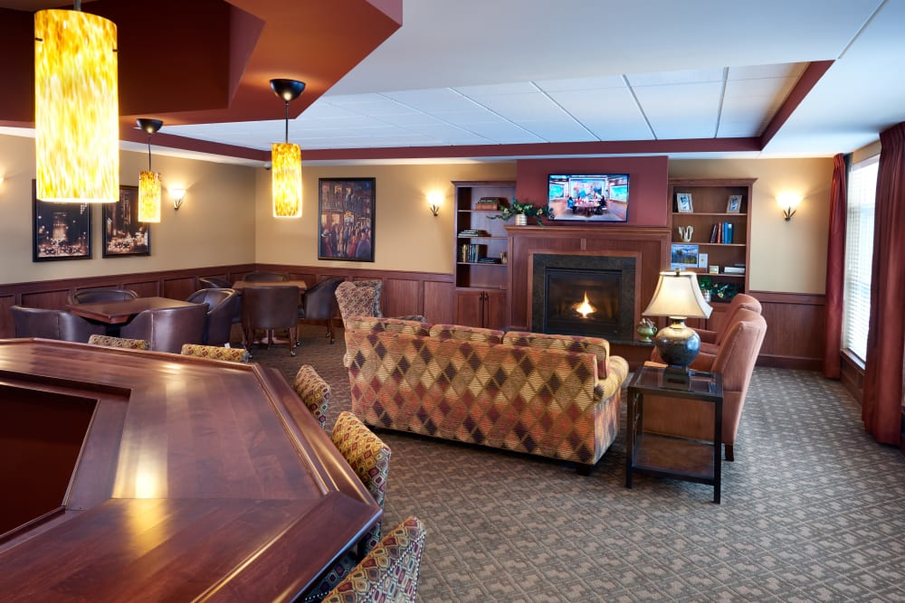 The club room at Applewood Pointe Shoreview in Shoreview, Minnesota.