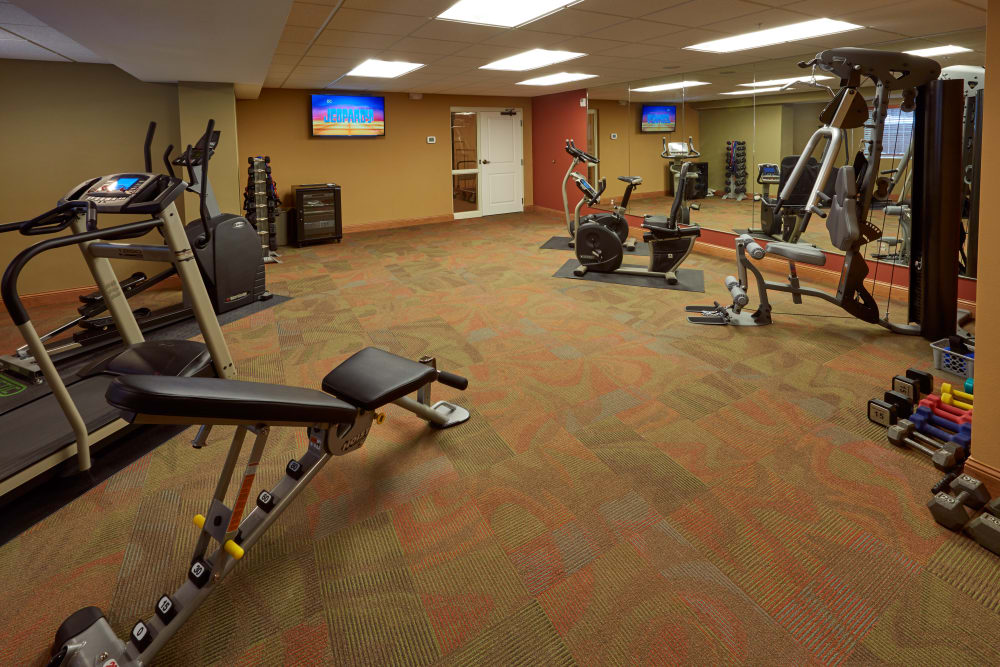 The fitness room at Applewood Pointe Shoreview in Shoreview, Minnesota.