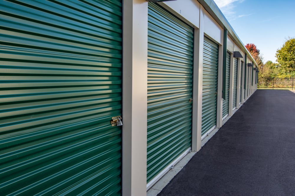 A row of outdoor storage units at Mini Storage Depot in Louisville, Kentucky