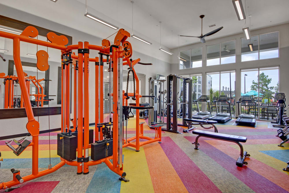 The well equipped fitness center at Linden on the GreeneWay in Orlando, Florida