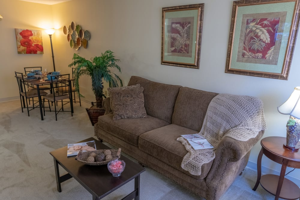 A comfortable apartment living room at Royal Palm Senior Living in Port Charlotte, Florida