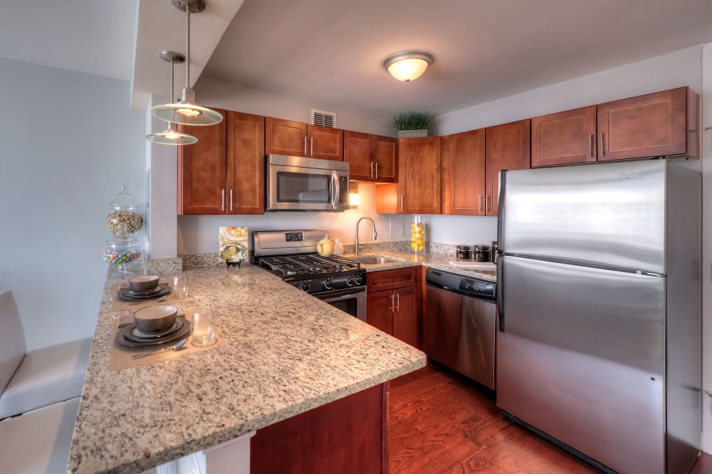 Kitchen with granite counters at Prairie Shores in Chicago, Illinois