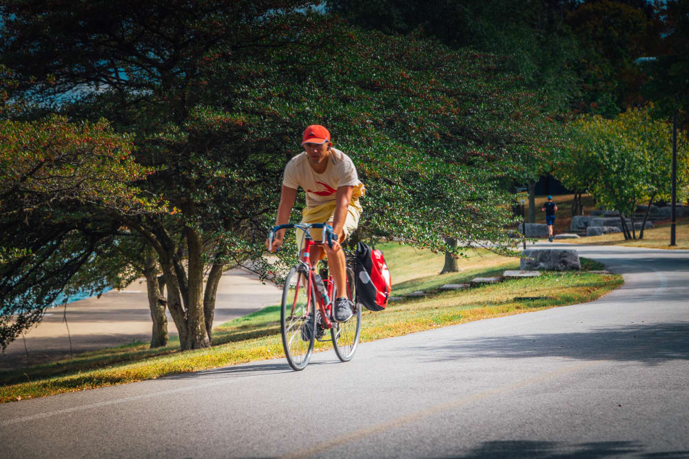 Resident riding his bike near Prairie Shores in Chicago, Illinois