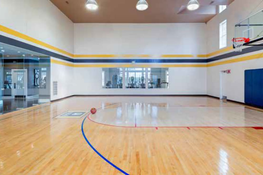 Indoor basketball court in Ellington Metro West's clubhouse in Westborough, Massachusetts