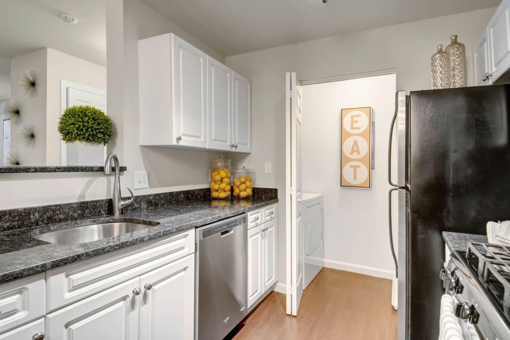 Stainless steel kitchen appliances at Ellington Metro West in Westborough, Massachusetts