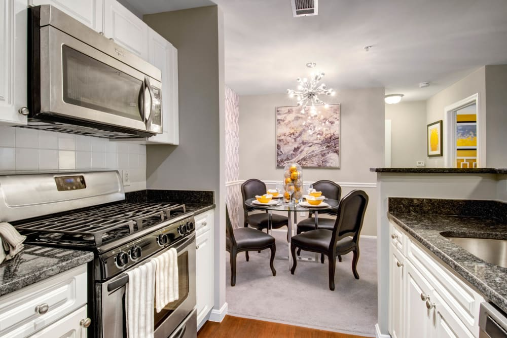A model kitchen and dining room at Ellington Metro West in Westborough, Massachusetts