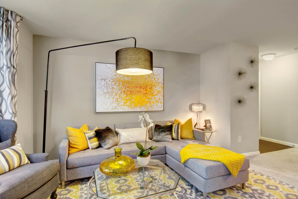 A model apartment living room at Ellington Metro West in Westborough, Massachusetts