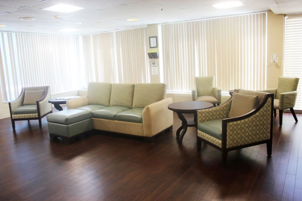 A seating area at Village Place Senior Living in Port Charlotte, Florida