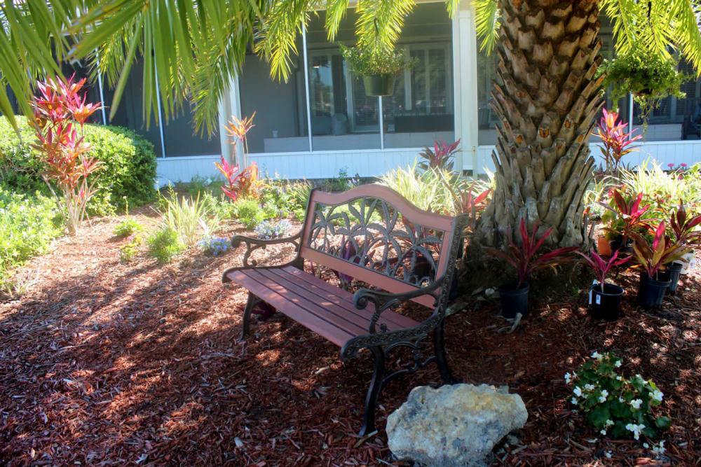 A park bench at Village Place Senior Living in Port Charlotte, Florida