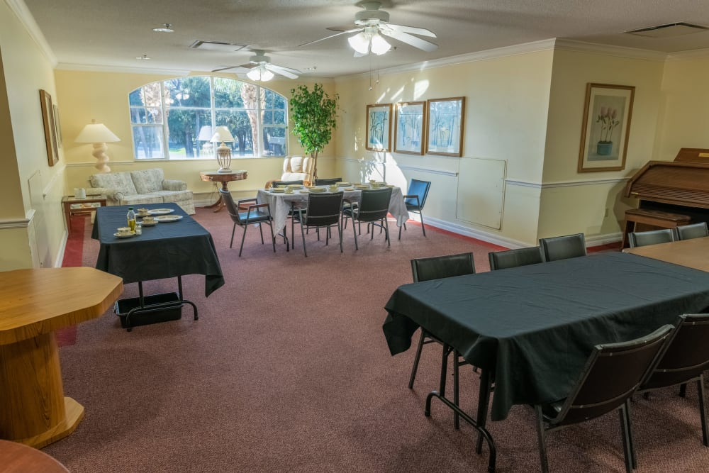 A large banquet room at Village Place Senior Living in Port Charlotte, Florida