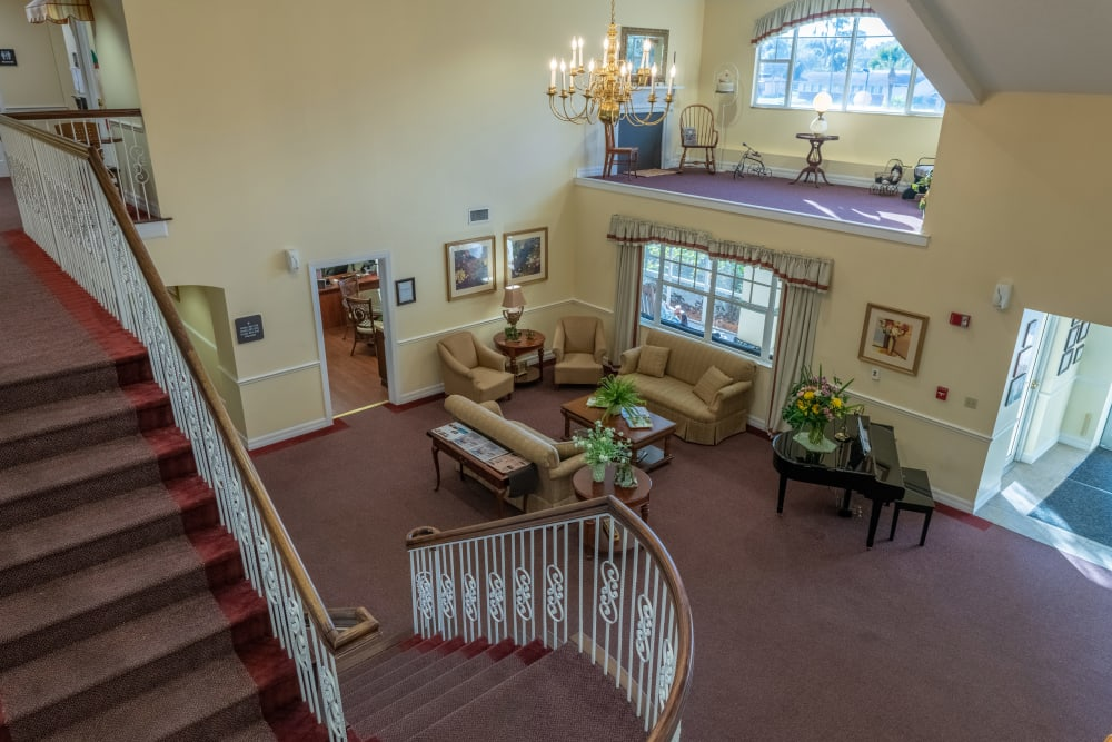 The lobby area at Village Place Senior Living in Port Charlotte, Florida