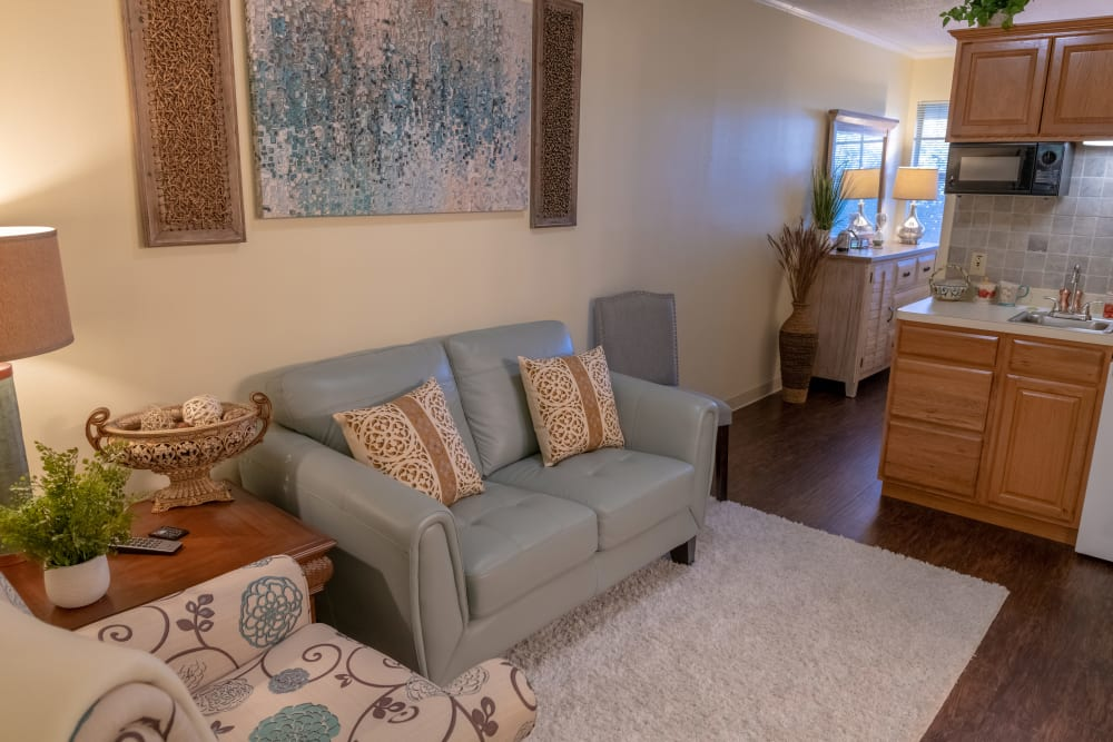 An apartment living room at Village Place Senior Living in Port Charlotte, Florida