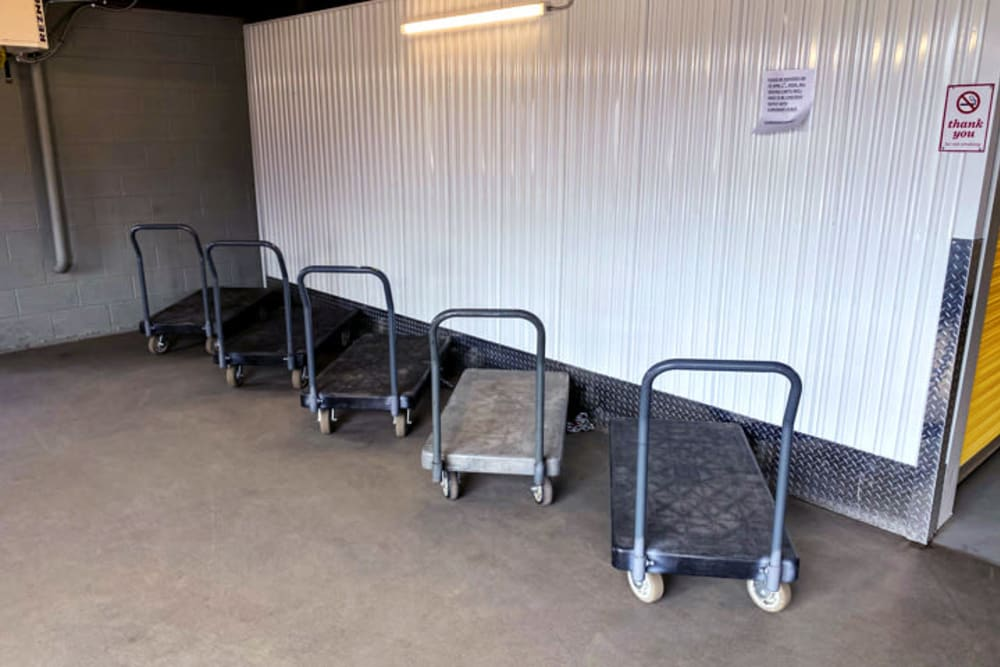 Free carts available for tenant use at Storage 365 in Colorado Springs, Colorado