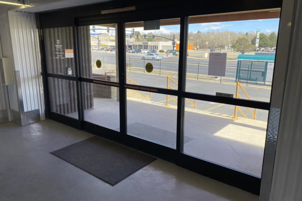 The no-touch automatic sliding entrance doors at Storage 365 in Colorado Springs, Colorado