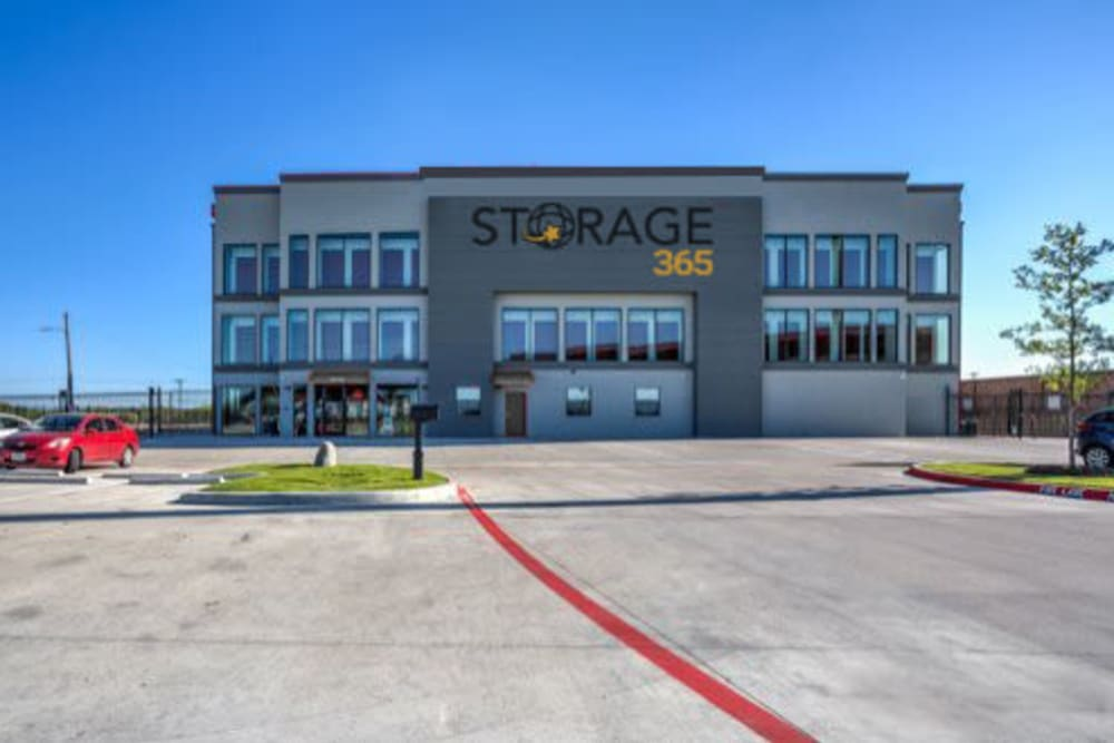 The front drive entrance to Storage 365 in Garland, Texas