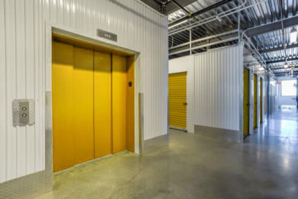 Freight elevator and interior storage units at Storage 365 in Garland, Texas