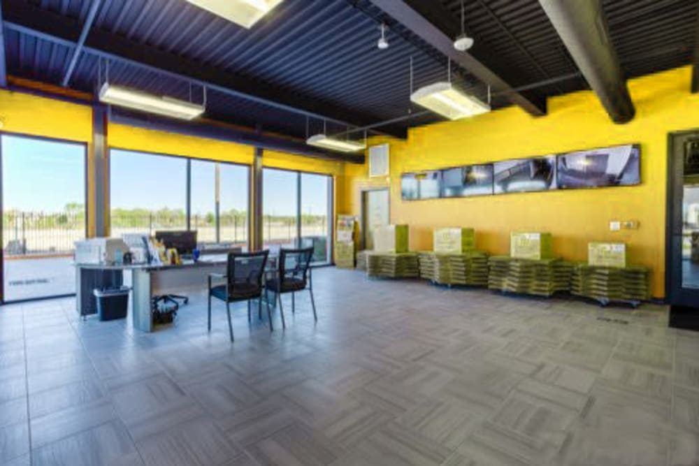 The office and leasing desk at Storage 365 in Garland, Texas