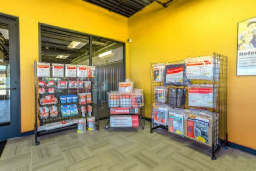 The moving and packing supplies available for purchase at Storage 365 in Garland, Texas