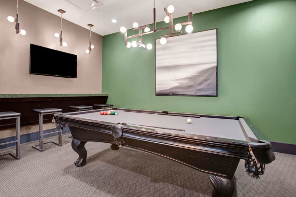 A billiards table in the clubhouse at Skyline New Rochelle in New Rochelle, New York