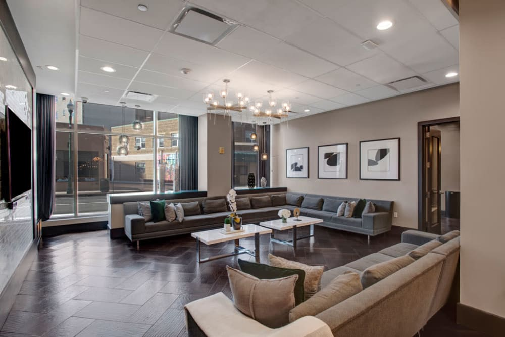 Lounge seating in the clubhouse at Skyline New Rochelle in New Rochelle, New York