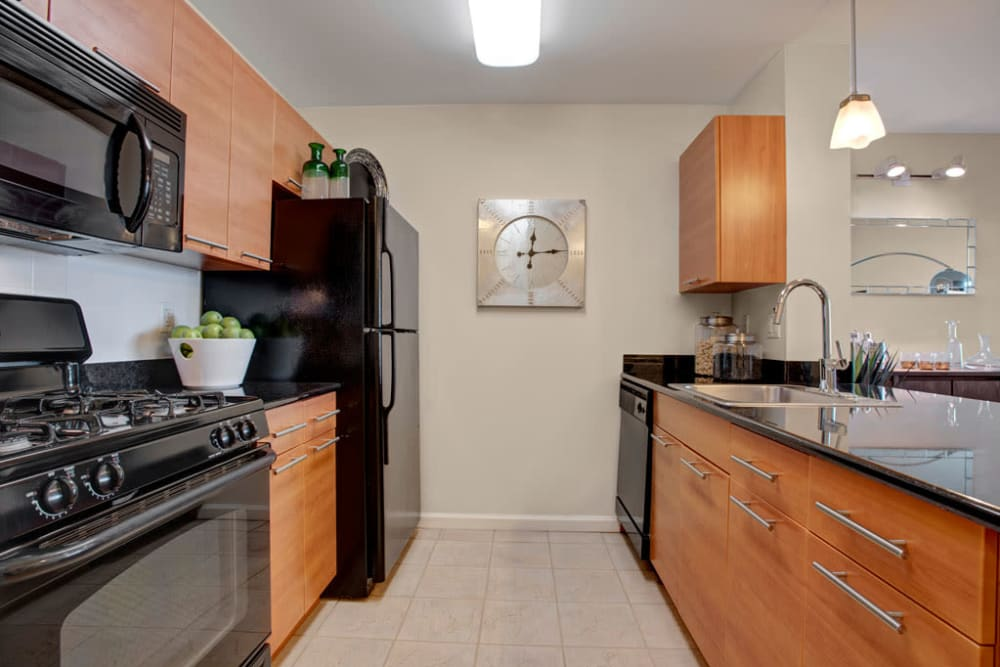 Kitchen with black appliances at Skyline New Rochelle in New Rochelle, New York