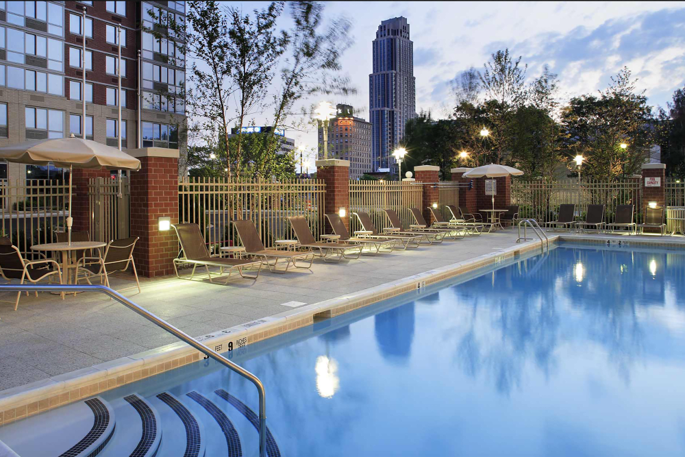 Luxurious swimming pool at Skyline New Rochelle in New Rochelle, New York