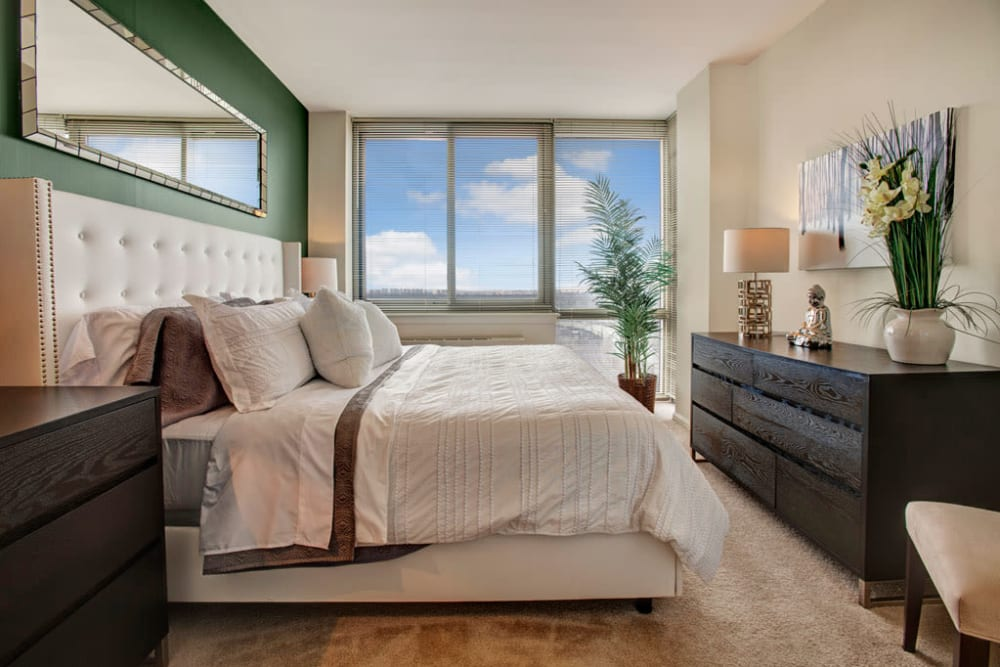 Wood flooring in an apartment bedroom at Skyline New Rochelle in New Rochelle, New York