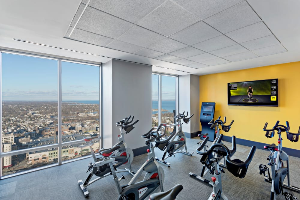 A spin room in the fitness center at Skyline New Rochelle in New Rochelle, New York