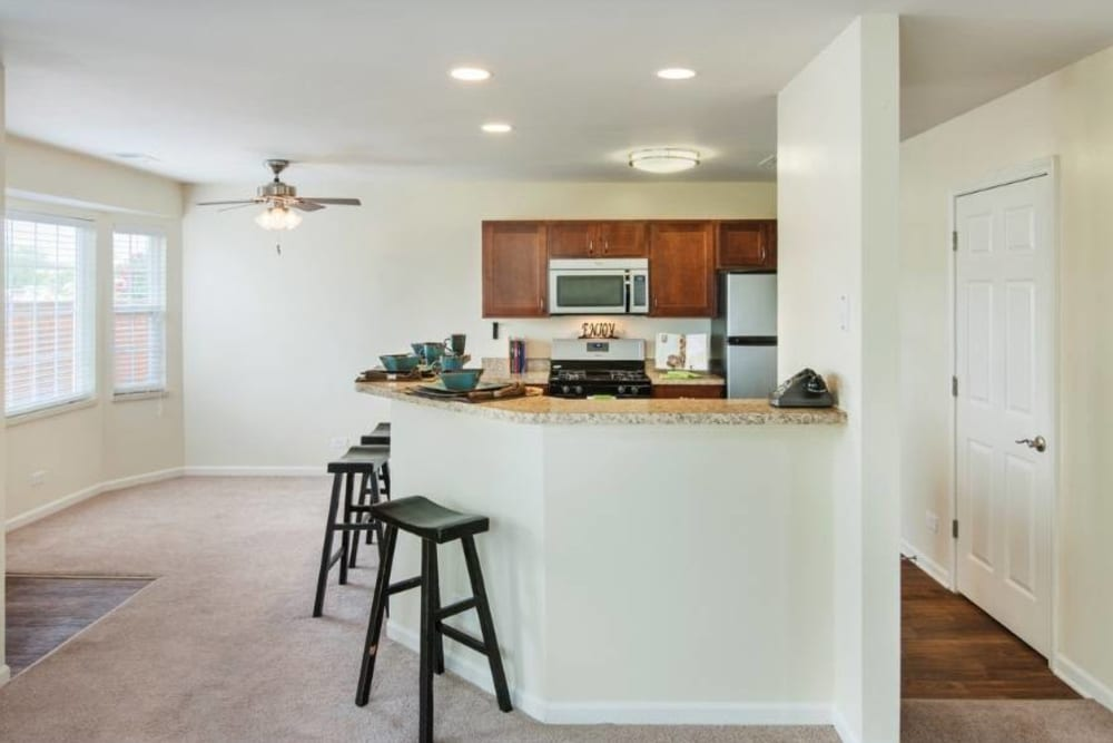 Kitchen at Lakeview Townhomes at Fox Valley in Aurora, Illinois