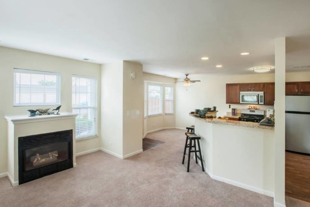 Living Room at Lakeview Townhomes at Fox Valley in Aurora, Illinois