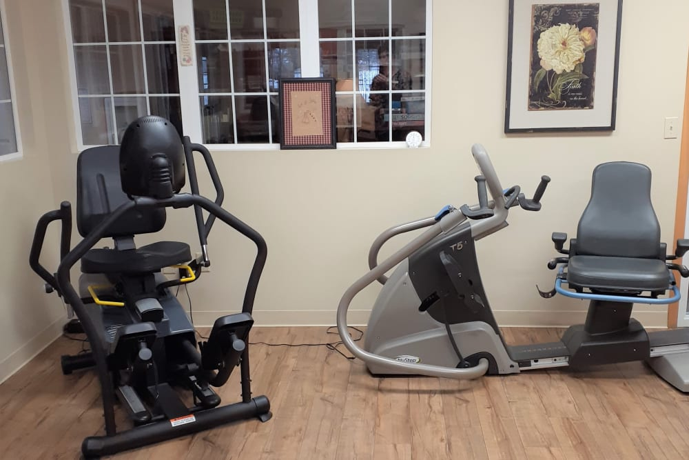 Resident exercise room with equipment at Clover Ridge Place in Maquoketa, Iowa.