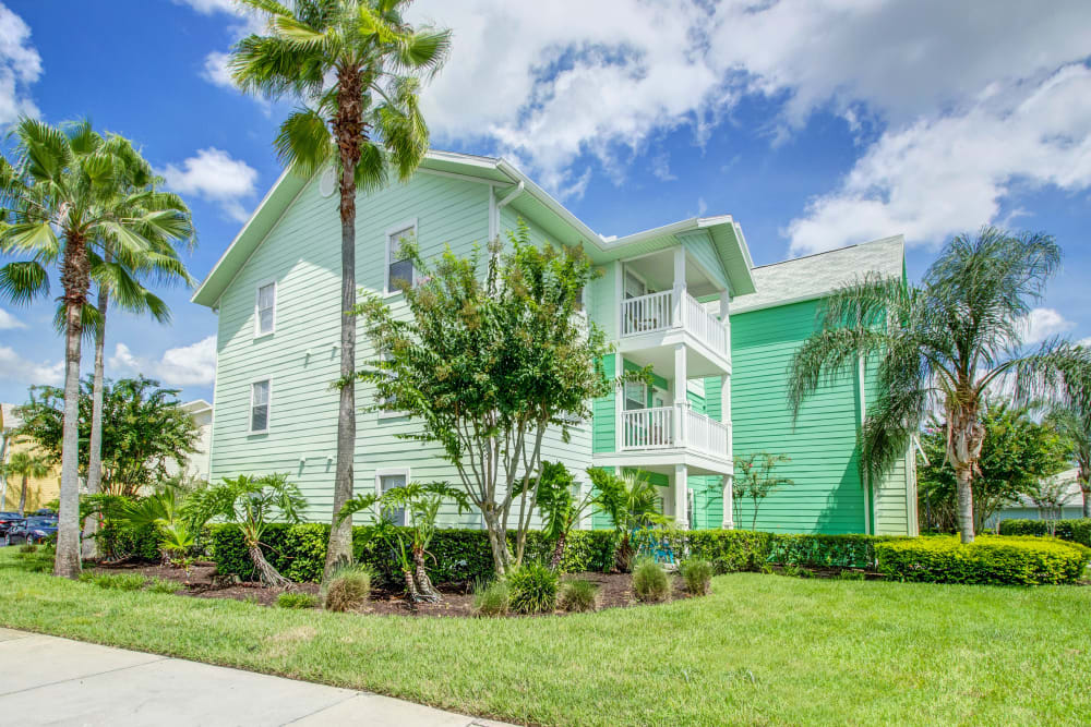 Beautifully maintained landscaping and palm trees outside resident buildings at Abaco Key in Orlando, Florida