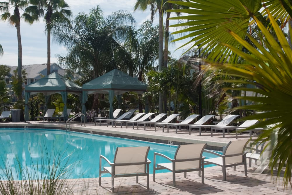 Chaise lounge chairs around the swimming pool at Abaco Key in Orlando, Florida