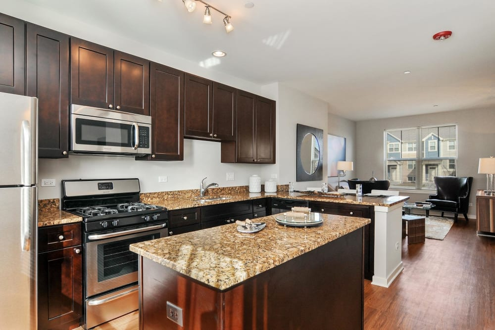Kitchen with a large island at The Oaks Of Vernon Hills in Vernon Hills, Illinois