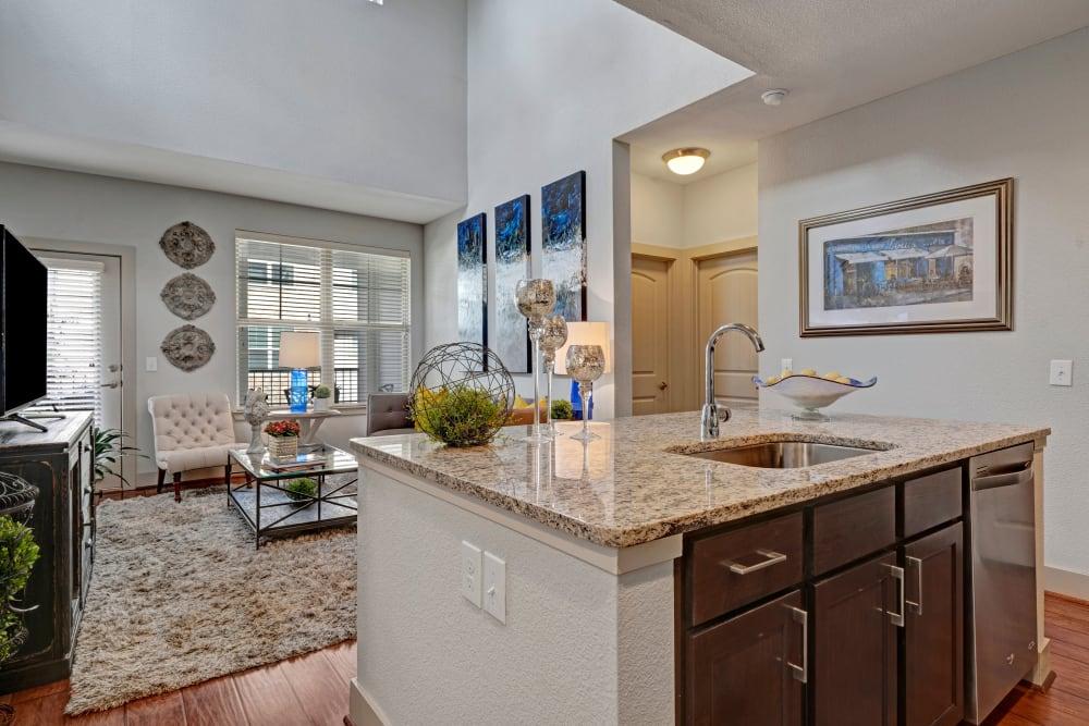 Kitchen with a kitchen island at Arrabella in Houston, Texas