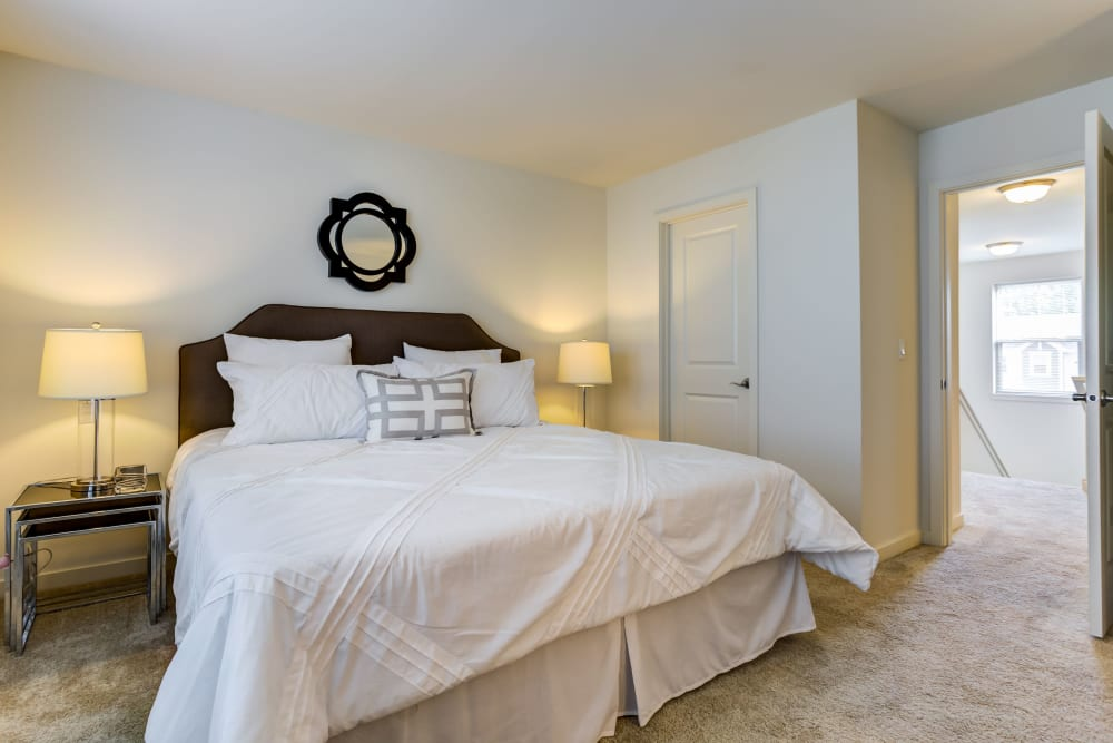 Master bedroom with a large closet at The Oaks Of Vernon Hills in Vernon Hills, Illinois