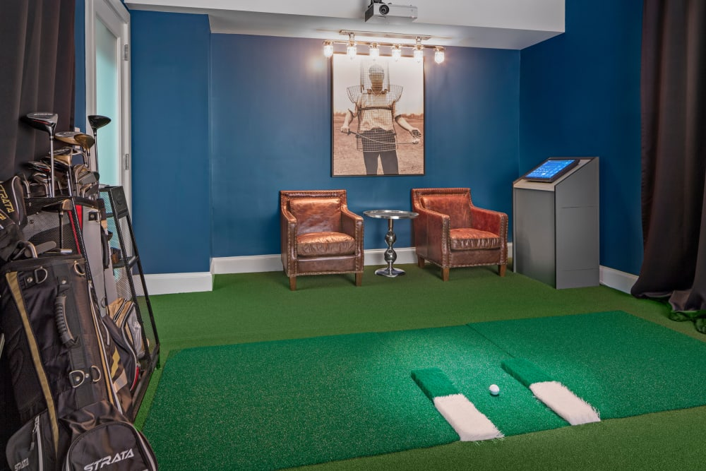 Indoor golf room at Bradlee Danvers in Danvers, Massachusetts