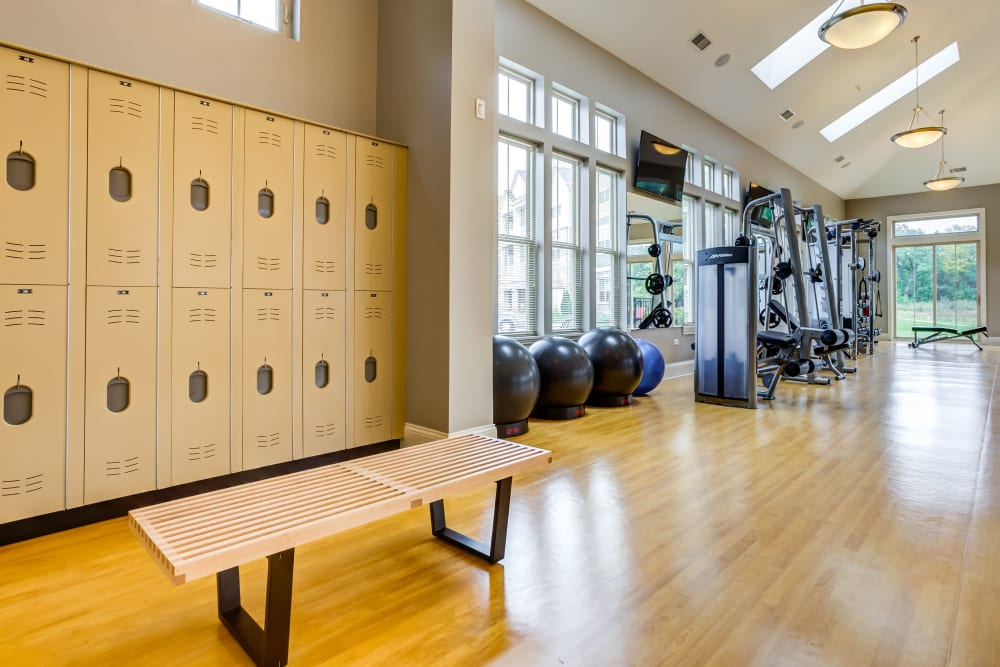 Spacious gym with plenty of workout stations at The Oaks Of Vernon Hills in Vernon Hills, Illinois