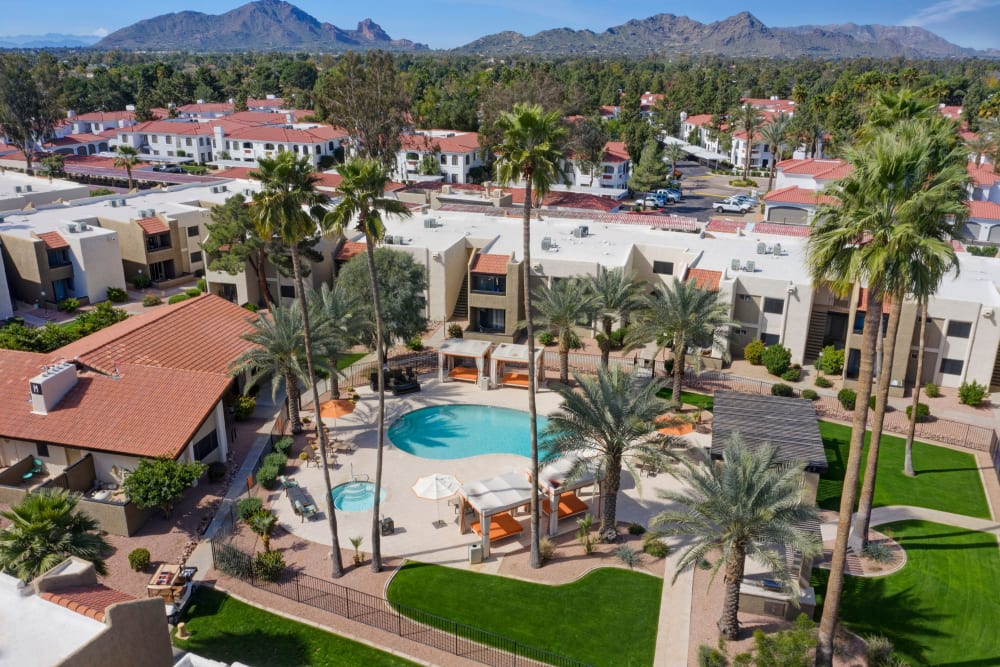 Aerial view of Avia McCormick Ranch Apartments in Scottsdale, Arizona