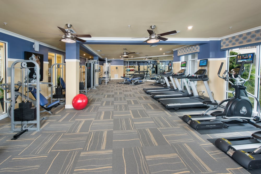 Fully equipped fitness center at Integra Lakes in Casselberry, Florida