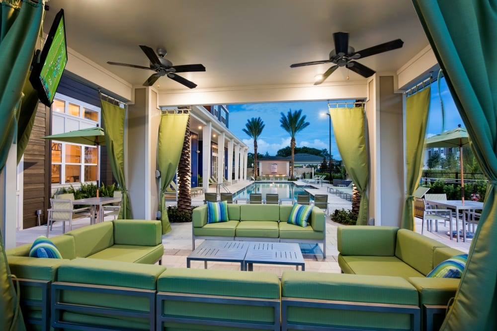 Poolside patio at Integra Lakes in Casselberry, Florida
