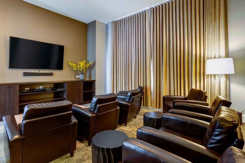 Video room for watching movies with friends at The Oaks Of Vernon Hills in Vernon Hills, Illinois