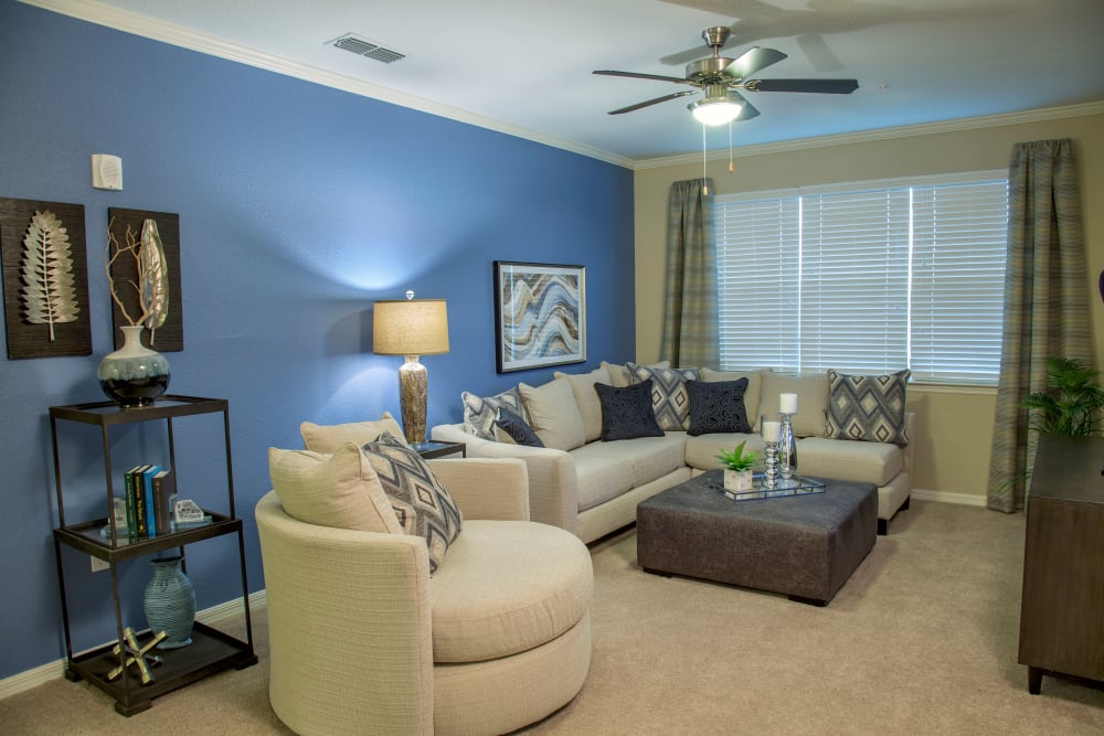 Bright, spacious living area at Integra Lakes in Casselberry, Florida