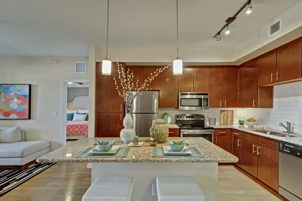 Well equipped kitchen at Linden Pointe in Pompano Beach, Florida