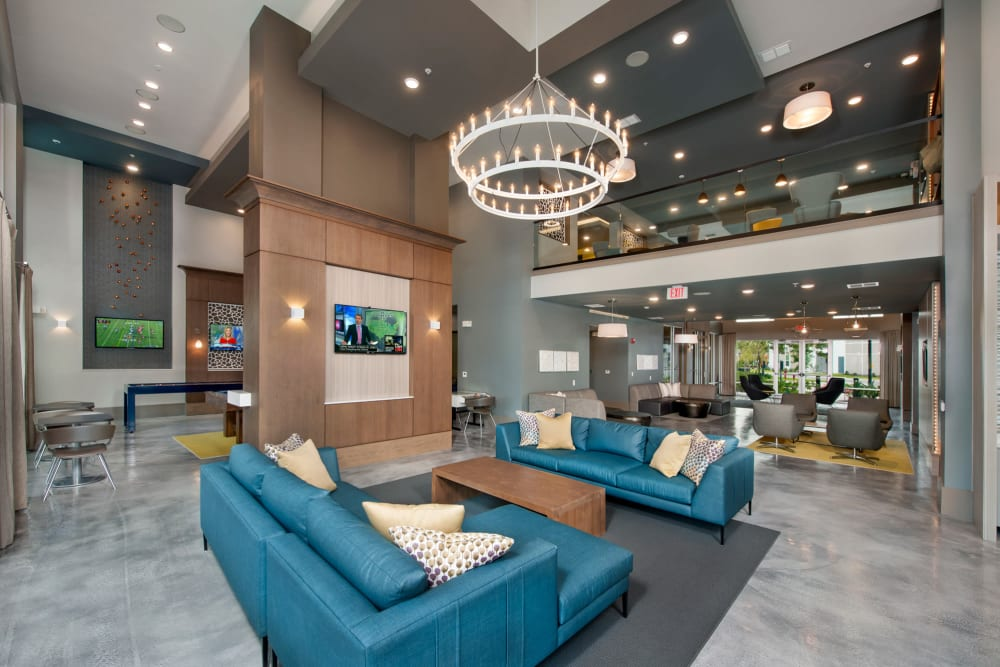 Lounge seating in the clubhouse at Linden Crossroads in Orlando, Florida