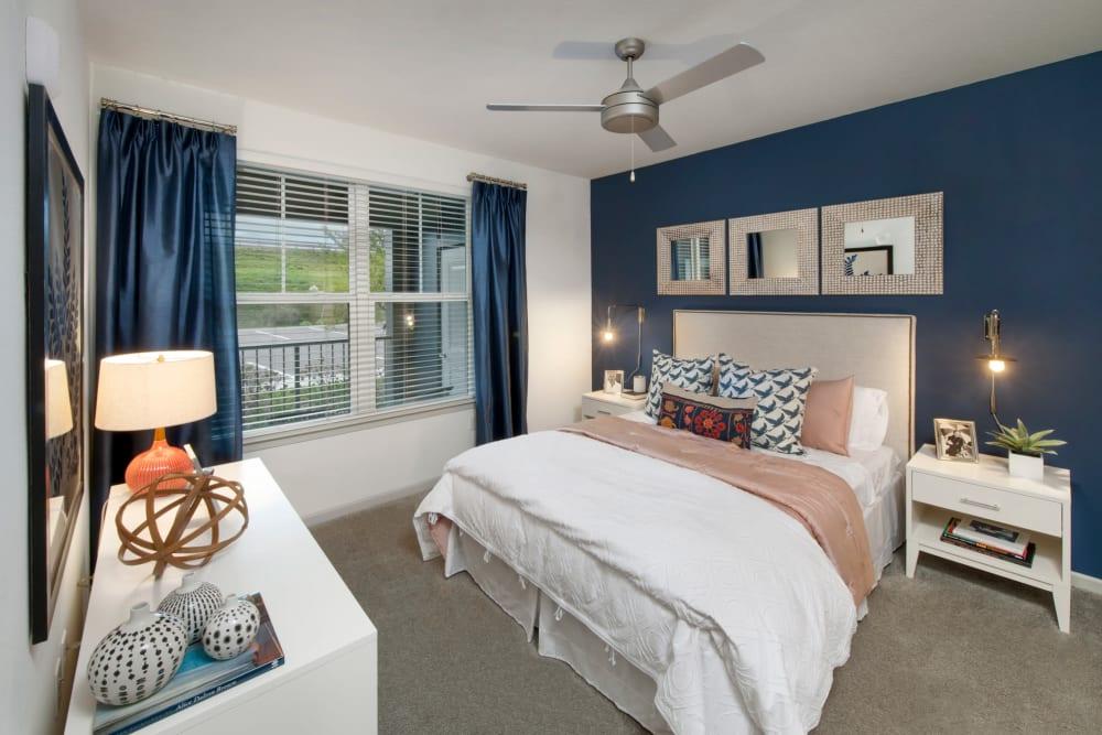 A spacious model bedroom at Linden Crossroads in Orlando, Florida