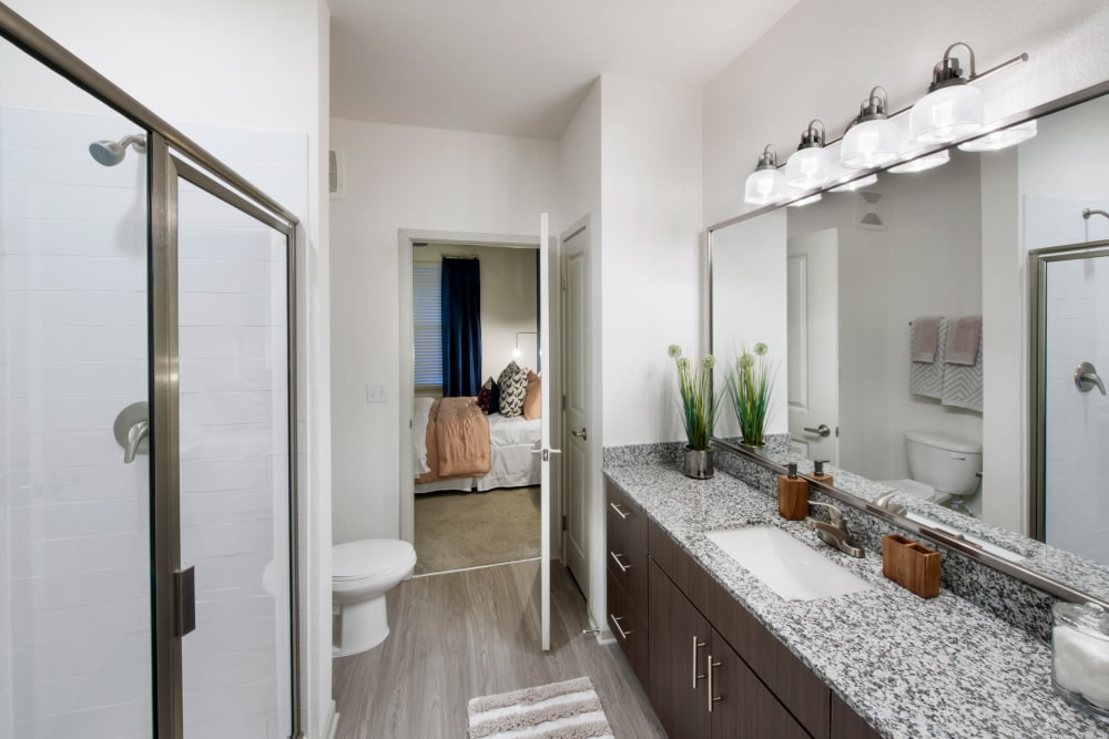 Bright master bathroom at Linden Crossroads in Orlando, Florida