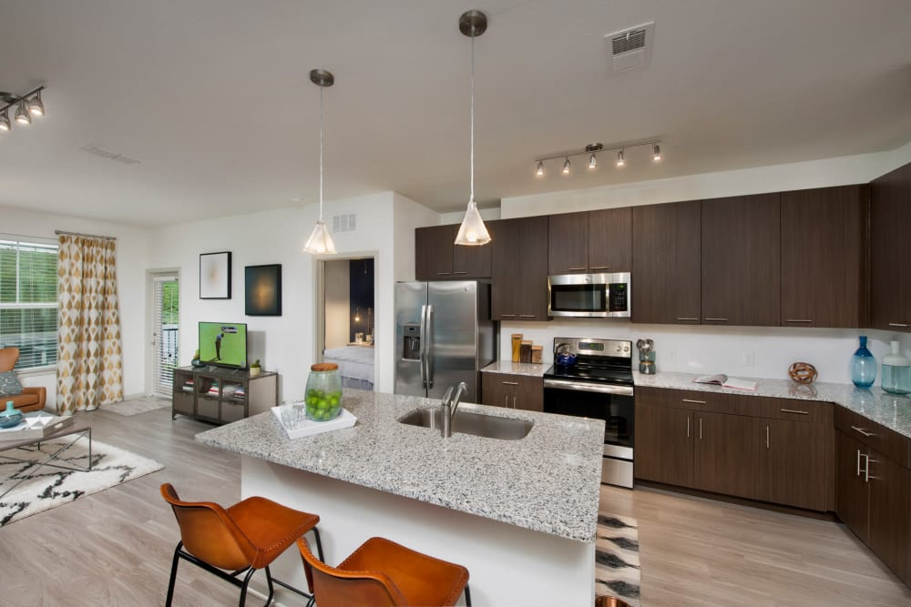 Kitchen with a kitchen island at Linden Crossroads in Orlando, Florida