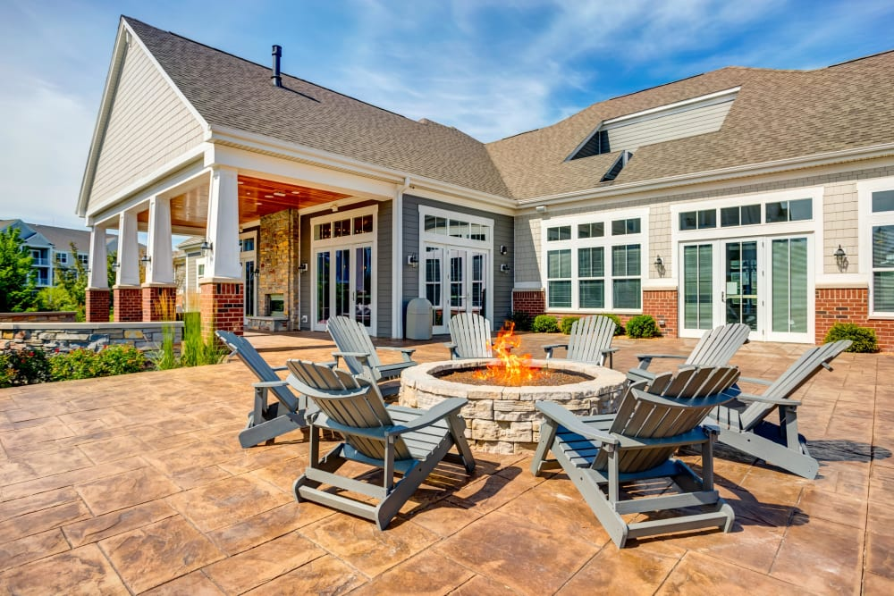 Outdoor lounge with a fireplace at Northgate Crossing in Wheeling, Illinois